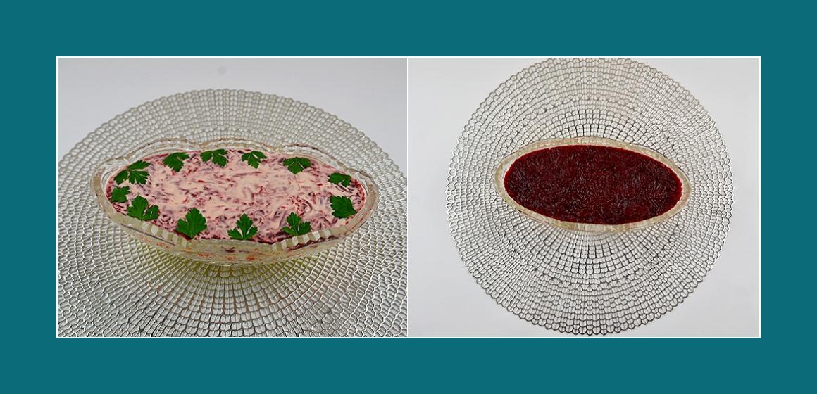 Nahrhafter Kartoffel-Rüben-Möhren-Salat mit Eiern und Sprotten
