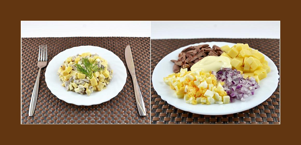 Einfacher Salat mit Herzen, Käse, Zwiebeln und Ei