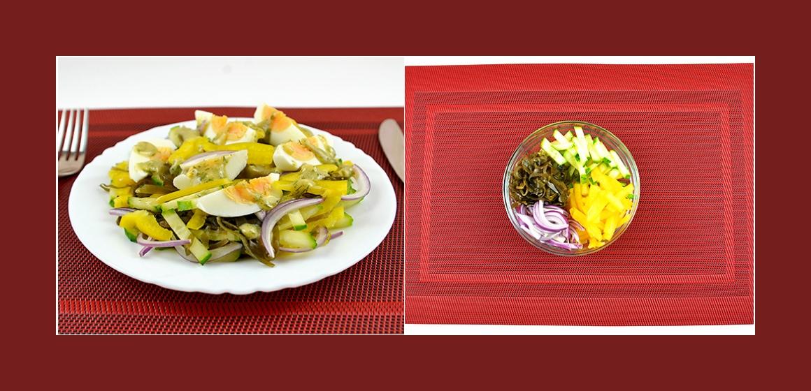 Pikanter Salat mit Seetang, Gurke,  Paprika, Ei und Dill