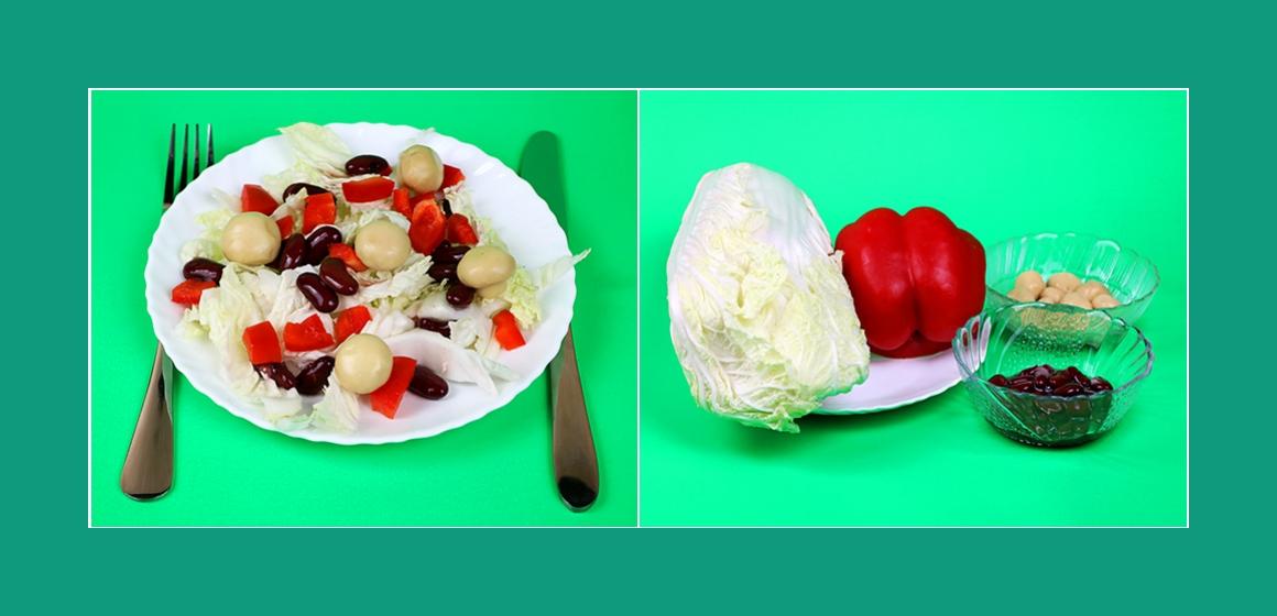 Appetitlicher Gemüsesalat mit Kohl, Paprika, Bohnen und Pilzen