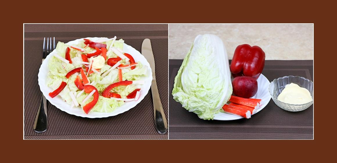 Köstlicher Salat mit Kohl, Krabbenstangen, Paprika und Apfel
